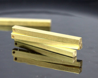 raw brass bar square stamping 4x60 mm sbl460-1095